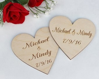 "4"" Personalized Heart, Engraved Heart, Personalized Wood Hearts, Engraved Wood Hearts, DIY Wedding Centerpiece, Rustic Wedding Decor"