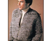 No.544 Men's Crochet Pattern PDF - Cardigan Sweater Coat - Zippered Battle Jacket - 1970's Vintage Retro Crochet Pattern - Instant Download