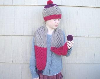 Girls Hat & Scarf Set, Pom Poms, Cables Scaf, Beanie Beret Tam, Pink Magenta Tan, Knit, Warm Winter Set