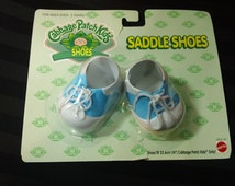 Vintage 1996 Mattel Cabbage Patch Kids CPK Shoes ~ Blue & White Saddle Shoes with Laces