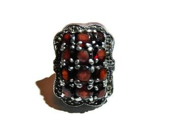 Vintage Sterling Garnet Marcasite Ring Size 8