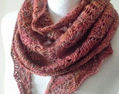 Hand Knit Lace Scarf - Knit Scarf - Shawlette - Luxury Fibre Scarf - Ready to Ship