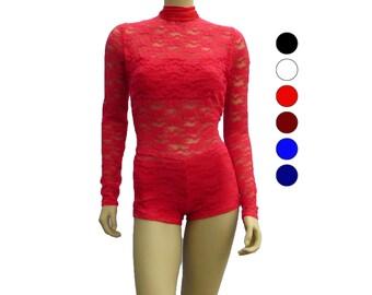 Long sleeve lace bodysuit - Choose your color - Bodysuit - Open back leotard
