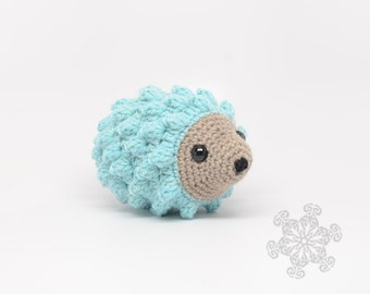 Pale Blue Hedgehog Stuffed Animal, Hand Crocheted Hedgie, Simple Toy