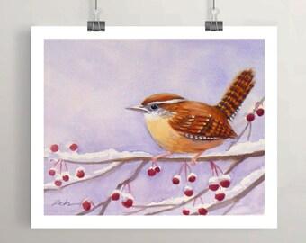 Carolina wren bird in winter art print red berries wall decor by Janet Zeh Original Art
