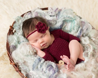 Baby Girl Crochet Long Sleeve Romper and Headband Set, Newborn  0-3 Months Mohair Romper, Knit Romper Outfit, Maroon Onsie Photo Prop