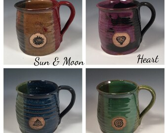 Curvy Pottery Coffee Mug -16 oz -Custom Stamped -Choose your color - Choose your stamp image - Made To Order- ceramics - pottery - stoneware
