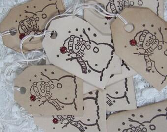 Snowman Vintage Holiday Christmas  Tags set of 12