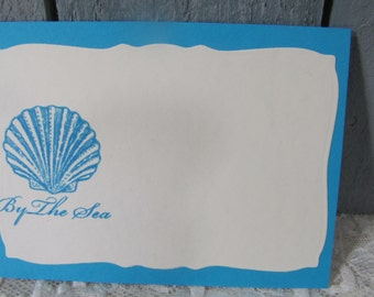Scallop Shell By the Sea Place Cards Food Buffet Label Tags Wedding Labels Sea Life Beach Cards set of 12