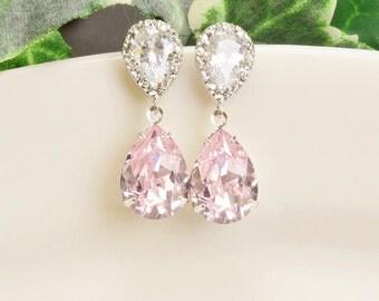 Light Pink Earrings - Silver Pink Swarovski Crystal Teardrop Earrings - Pink Bridesmaid Earrings - Wedding jewelry - Bridal