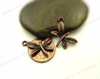 Bulk 18 Dragonfly Charms 14x22mm Antique Copper Tone Metal - Jewelry Pendants - BB28