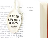 Spoon Bookmark. Drink Tea, Read Books, Be Happy. Stamped Silverware Book Mark. Tea Lover Gift. Original Milk & Honey ® Design.