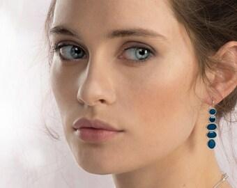 Long Dangle Earrings, Silver Dangle Earrings, Blue Resin Earrings, Sterling Silver Earrings, Lightweight Earrings, Resin Jewelry