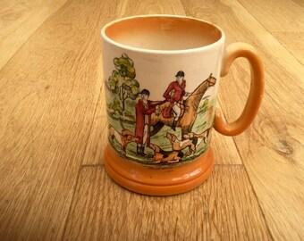 1950s Horse Riding Fox Hunting Mug Tankard by Arthur Wood England Vintage Souvenir
