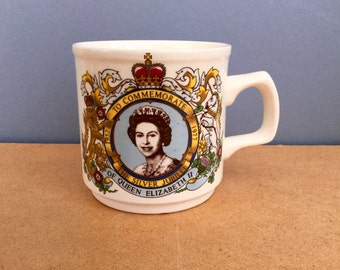 1977 Souvenir Mug to Commemorate the Silver Jubilee of Queen Elizabeth II Royal Memorabilia