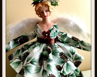 Christmas Angel Tree Topper Pine Cone Themed OOAK Porcelain Angel TreeTop