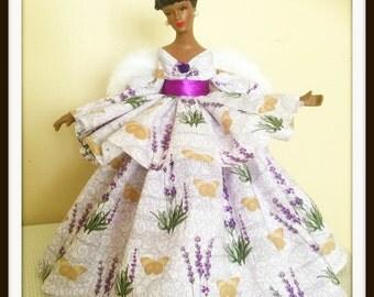 Angel Doll,  African American Angel Tree Topper, Black Angel, Purple Tree Topper, OOAK Angel Doll in Purple