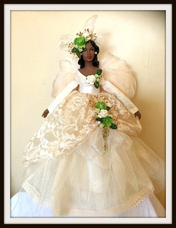 Ivory Angel Tree Topper Elegant African American Christmas