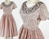 50s Dress Rockabilly Pink Calico Day Dress Shirtwaist Fit and Flare Rhinestones Embellished