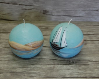 Nautical Candle Ball - Handpainted Candle Ball - Painted Dunes Ocean Sailboat -  Gift for Him - Marine Decoration -Beach Cottage Decor