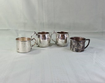 Silver plate baby cup set of four- Vintage/ Antique- small Coffee Cups- FB Rogers Silver- Electroplate Silver over Copper- Espresso mugs