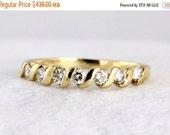 VALENTINES DAY SALE Vintage Diamond 14k Yellow Gold Half Eternity Ring Wave Design Wedding Band Anniversary Ring .30 tdw