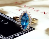 VALENTINES DAY SALE Vintage London Blue Topaz Diamond Cluster Halo British Ring 9ct 9k Yellow Gold Alternative Engagement Wedding Promise