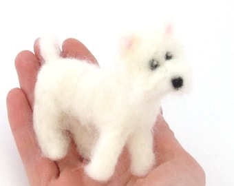 Westie, miniature dog, Felted dog, Needle Felted West highland Terrier