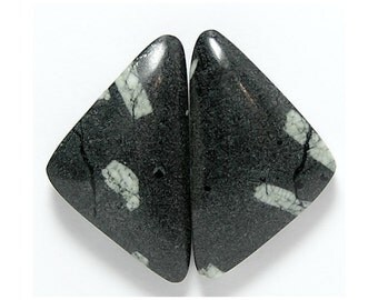 Black and White Chinese Writing Rock Semiprecious Stone Matched Cabochon Pair for Earrings Loose Unset Gemstones