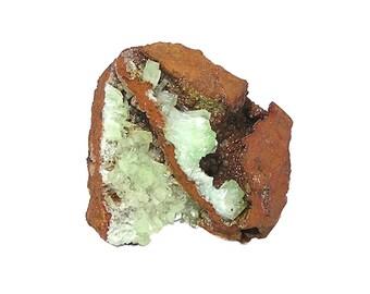 Cuprian Adamite Green Crystal Cluster in ocher limonite matrix rock,  Rare mineral specimen Mined in the 1980's in Mexico, natural gemstone