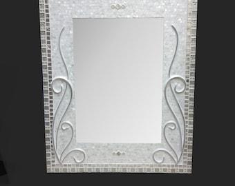 Large Decorative Mosaic Mirror - Bathroom Mirror - Silver Frame Mirror - Bathroom Mirror - Bath Decor - Mother of Pearl & Metal