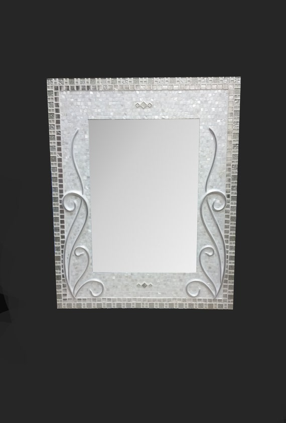 Large decorative mosaic mirror bathroom mirror silver for Silver framed bathroom mirrors