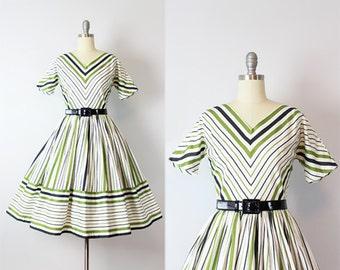 vintage 50s chevron striped dress / 1950s JONATHAN LOGAN dress / fit and flare striped dress / green striped dress / cotton sundress