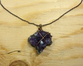 Raw Amethyst Necklace, Amethyst Cluster Necklace, Amethyst Chain Necklace, Amethyst Copper Necklace, Amethyst Crystal Necklace