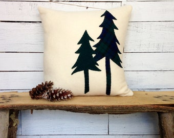 Rustic Home Decor Pillow, Woodland Pillow, Cabin Decor Pillow, Pine Tree Pillow, Winter Pillow, Holiday Pillow, 16 Inch Square Pillow