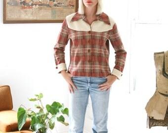 Vintage 70s Plaid and Fleece Jacket