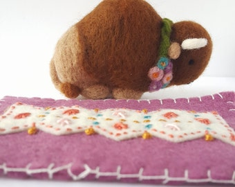 Regal Beasts Collection - Needle Felted Bison Buffalo with Flowers and Rug