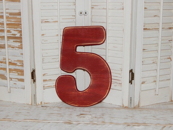 Number 5 distressed numbers wall decor birthday party props for Number 5 decorations