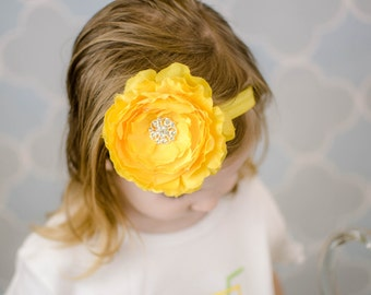 Yellow Ranunculus Flower Headband - Oversized Flower Hair Bow - Newborn Baby Girl Photo Prop Hairbow Hair Piece Spring Summer Wedding Bow