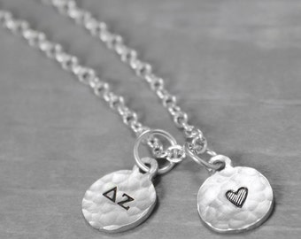Delta Zeta Necklace, Tiny Charm Necklace, Delta Zeta Jewelry, Dee Zee Necklace Sorority Gift Sorority Jewelry Charm Necklace Sorority Sister