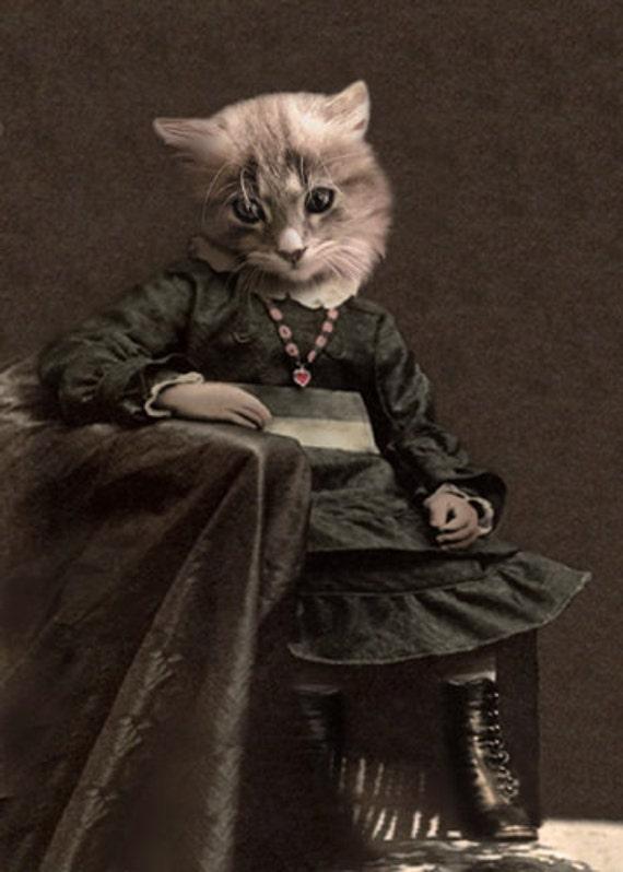 Leisl, Vintage Cat Print, Anthropomorphic Cat, Altered Photo, Whimsical Art, Photo Collage, Kitten Print, Anthropomorphism, Cat Gift