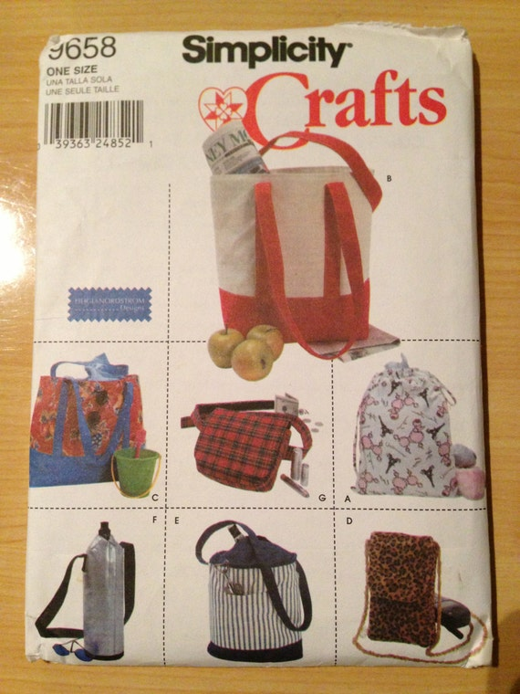 Simplicity Crafts 9658 Sewing Pattern Uncut Utility Bag Package Pajama Bag, Tote, Cell Phone Holder and Bottle Holder