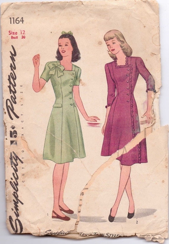 Simplicity Sewing Pattern 1164 40s Teen Age Dress Size 12 Bust 30 Unprinted Pattern
