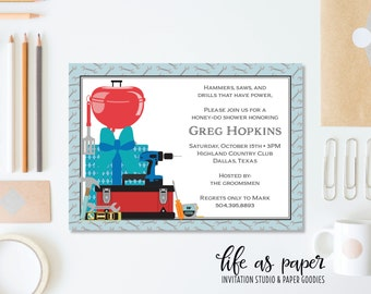 HONEY-DO wedding shower invitation - garage and grill man shower invite