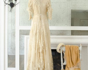 Antique Brussels / Bobbon Lace Point De Gaze Wedding Gown - 1900's