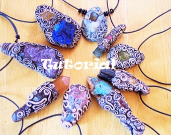 Polymer Clay Jewely Tutorial  Gemstone Pendants Instant Download! DIY Tribal Jewelry, Festival Necklace, Hippie Pendant