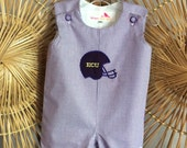 ECU or LSU Jon Jon ....fully lined purple gingham with Football helmet Applique or Block letters