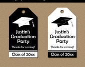Graduation Favor Tags, Printable Tags, Graduation Hang Tags, Graduation Party Favor Tags, High School Graduation, Editable Black White G1