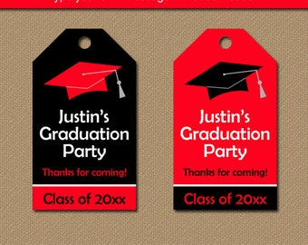 Printable Graduation Tags - Editable Graduation Hang Tags - Party Favor Tags - DIY Red & Black Graduation Party Tags - Thank You Tags