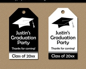 Graduation gift tags printable high school graduation tags graduation favor tags printable tags graduation hang tags graduation party favor tags high school graduation editable black white g1 negle Images